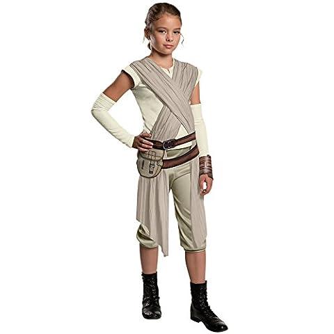 Star Wars 7 Kostüm Kinder Rey deluxe 5-tlg Hemd mit Schärpe, Gürtel mit Tasche, Armstulpen, Manschette, Hose weiss, sand, beige - (Wookie Jedi Kostüm)