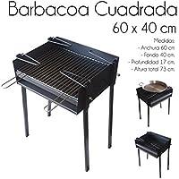 ESTUFAS GARCIA Barbacoa Cuadrada Chapa 60X40 con Soporte para Paella