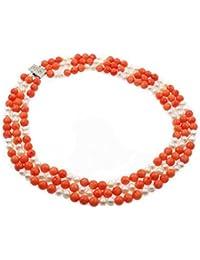 TreasureBay - Collar de tres vueltas de perlas cultivadas Elena y coral rosa naturales, incluye caja para regalo