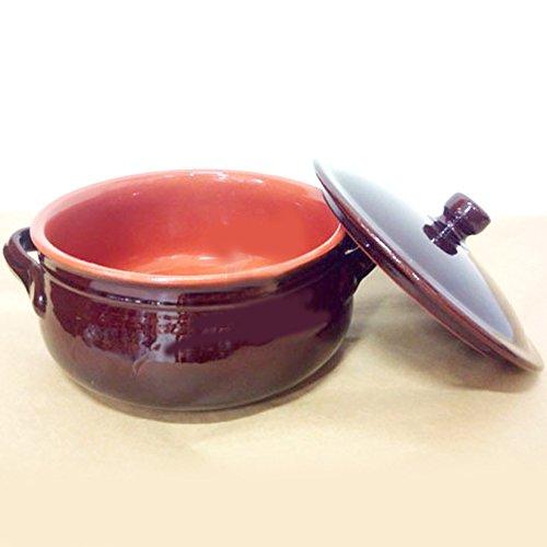 Colì tegame da fuoco con coperchio in terracotta linea bruna diametro 30cm per sughi zuppe minestroni