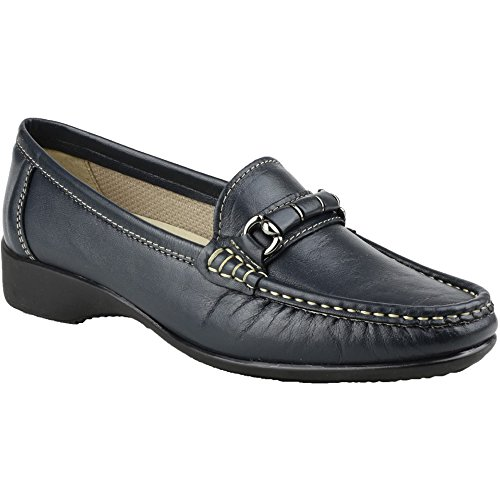 Cotswold Ladies Barington Smart Leather Moccasin Shoe Navy Navy