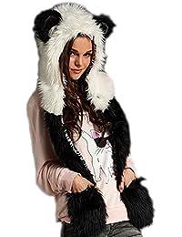Dayiss®Danmen Mütze Fellmütze Kunstfell Tiermütze mit Ohren Handschuhe Karnevals-Mütze Fasching Kapuzenschal Winter