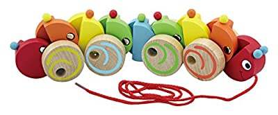 Viga Wooden Pull-Along Caterpillar - Childrens Wood Activity Play Toy