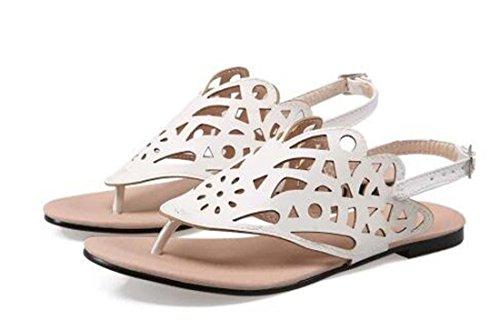 Donne pompa Ragazze estate Flip Flop & Thongs artificiale Pu Slingback casual Tallone piano Pianura Fiori Fibbia scarpe comode semplici Europa Formato standard 30-45 Gold