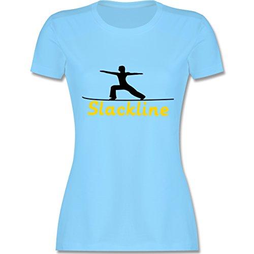 Sonstige Sportarten - Slacklinen - tailliertes Premium T-Shirt mit Rundhalsausschnitt für Damen Hellblau