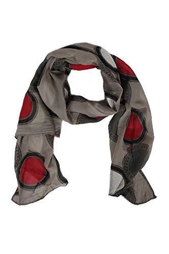 Zwillingsherz Seiden-Tuch im Punkt Design - Hochwertiger Schal für Damen Mädchen - Halstuch - Umschlagstuch - Loop - weicher Schlauchschal für Frühjahr Sommer Herbst und Winter - taupe