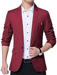Uomo Vestito di Affari Casual Business Cappotto Giacca Blazers Slim Fit  Vino Rosso 2XL d4d55d76080