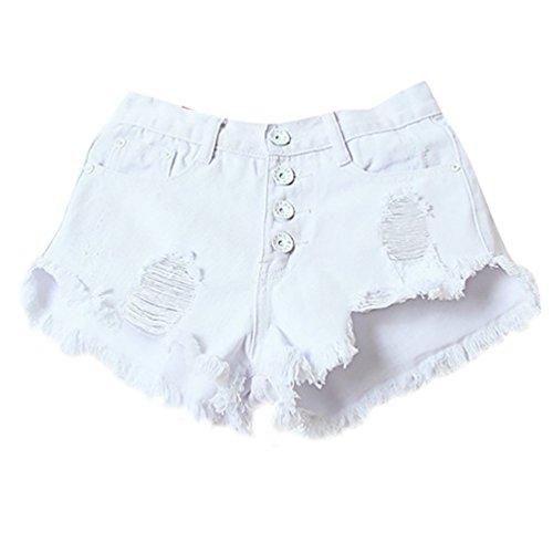 Baymate Femmes Casual Shorts Taille Haute Délavé Bouton Design Denim Jeans Court Blanc