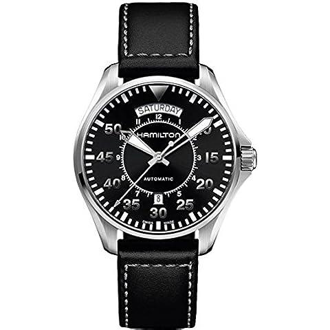 Hamilton H76512733 - Reloj de cuarzo para hombre, correa de cuero, color negro