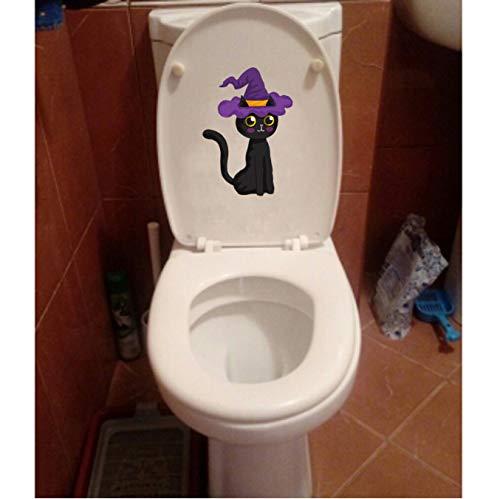 Toilettenaufkleber (1 Beutel / 2 Sätze) Halloween Black Cat Classic Kinderzimmer Dekor Wandaufkleber Toilettenaufkleber 12.8X18.3CM