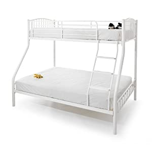 Serene Oslo White Gloss Three Sleeper Bunk Bed Base - Metal Bed Frame - Triple Bunk Bed - 3FT Single and 4FT6 Double Bunk Bed Frame