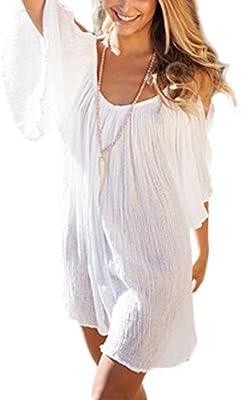 Minetom Mujer Mini Vestido Moda Atractiva Dress Cuello Redondo Sin Tirantes Dress Guay Verano Sin Mangas Beachwear Playa Estilo Bohemio Tirantes Atractivo