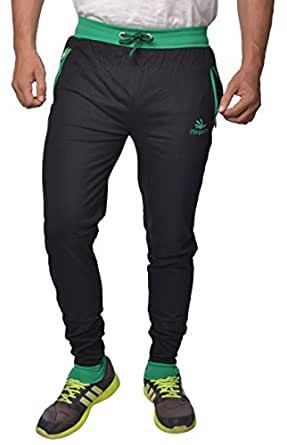 Finger's Men's Cotton Ribbed Track Pants With Zipper Pockets (38, Black-Green)