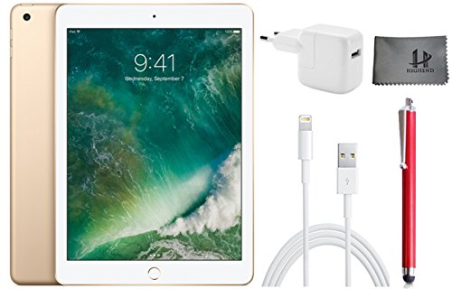 Apple iPad Wifi Tablet PC MPGW2FD/A 24,6 cm (9,7 Zoll) - 128GB , Gold + Highend Zubehor Bundle ** Neueste model 2017 **