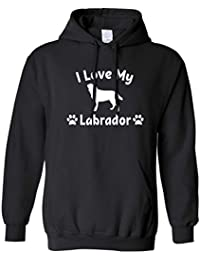 I Love My Labrador Dog Lover Gift Cute Adorable Silouhette Dog Breed Owner Pet Animal Companion Hound Paw canine Slogan Unisex Hoodie Cool Birthday Gift Present