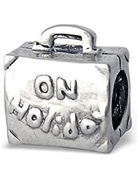 De vacaciones Maleta, bolso, maleta, viaje, plata de ley 925 Charm bead