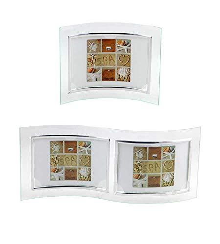 Ideal Verona Glas Bilderrahmen 10x15 cm 13x18 cm 15x20 cm Bilder Gebogen Foto Rahmen: Farbe: Silber Quer | Format: 2X 10x15 - Foto-bild 10 Von 13