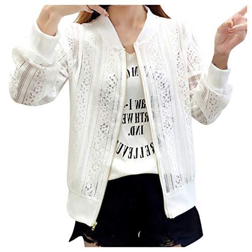 SoonerQuicker Mantel Damen Herbst Elegant Art und Weisefrauen Oberseiten Spitze Baseball Hemd Reißverschluss Lange Hülsen Bluse lösen Mantel Weiß XXL -