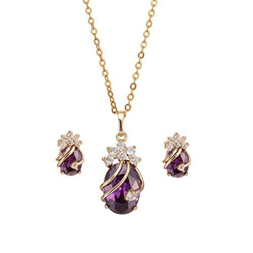 Yazilind Frauen Gold 18K überzog purpurrote Charme-Ketten-Anhänger-Halsketten -Bolzen-Schmuck-Set für Hochzeit (Charme-kette)