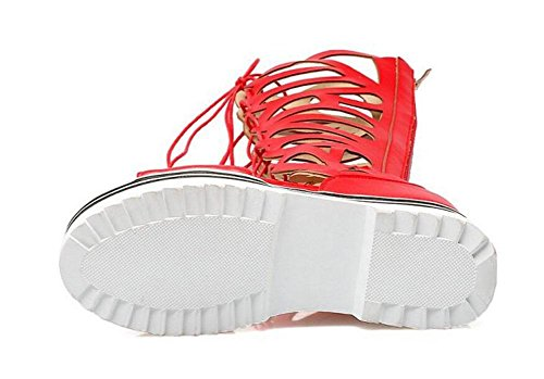 GLTER Damen Sandalen Open-Toed Hollow Cool Stiefel Dicke Front Spitze mit römischen Schuhen Red