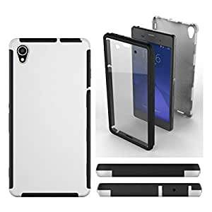 For Sony Xperia Z3 Phone Front + Back 2 in 1 Full Body Touch Screen Protector Hard Case Cover - WHITE