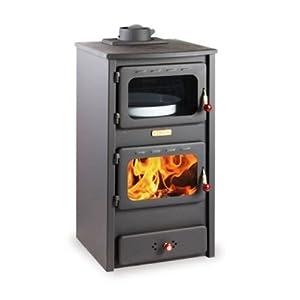 Estufa de leña con horno de hierro fundido