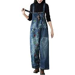 YuanDiann Femme Salopette Denim Jambe Large Impression Grande Taille Combinaison Jeans Romper Grossesse Maternité Ample Boyfriend Large Combi Pantalon 7# Bleu Foncé