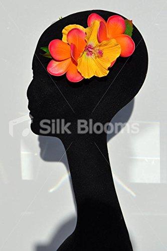 Impresionante-naranja-y-amarillo-Tropical-de-Plumeria-flores-artificiales-accesorio-para-el-pelo