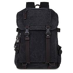 Gendi Canvas Laptop Camera Messenger Travel Shoulder Bag Unisex School Backpack (Black)