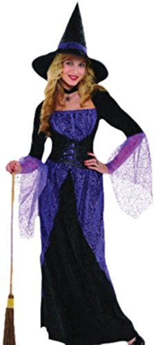 erdbeerloft - Damen Hexen Witch Kostüm Karneval Fasching lila, 38, Schwarz (Masquerade Witch Erwachsene Kostüme Damen)