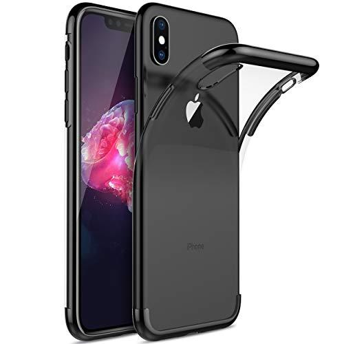 Kugi Funda iPhone XS MAX, iPhone XS MAX TPU Transparente Slim Silicona Case Cover [Anti-arañazos] para iPhone XS MAX(Negro)