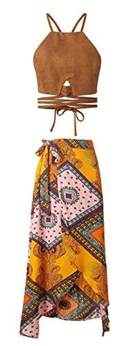 Botanmu Crop Tops Vest T Shirt para Mujeres + Falda Bohemia Falda Maxi