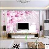 HONGYAUNZHANG Rosa Rosenblätter Benutzerdefinierte Foto Tapete 3D Stereoskopischen Wandbild Wohnzimmer Schlafzimmer Sofa Hintergrund Wandbilder,60Cm (H) X 80Cm (W)