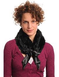 Black Faux Fur Collar With Satin Bow Collar Scarf - Black Embellished Designer Collar