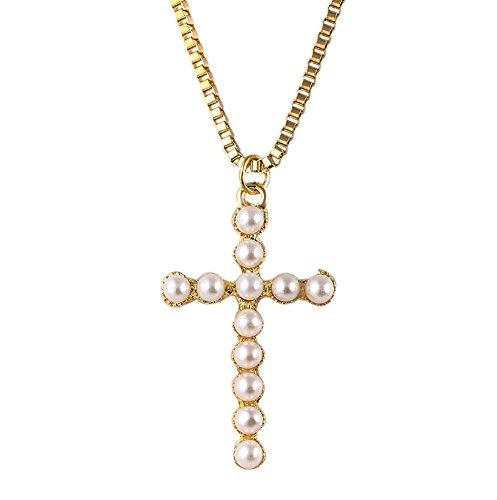Damen Halskette mit Kreuz Anhänger Perlen Kreuzkette Statement Kette Religion
