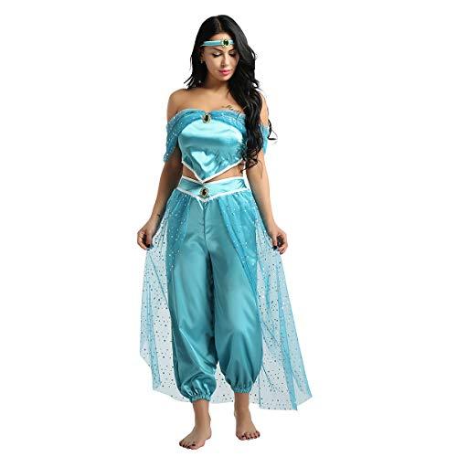 MSemis Disfraz de Princesa Latina Traje Danza del Vientre para Mujer Chica 3Pcs Top Pantalones Diadema Actuación Fiesta Cosplay Azul Large