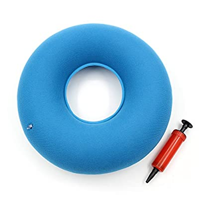 "Almondcy - 15"" Blue Inflatable Ring Cushion with Red Air Pump Comfortable Medical Pillow Bed Sores, Haemorrhoid Pain, Coccyx & Tailbone Pain, Extruded disc, Bruised or Broken Tailbone Great for Wheelchairs - low-cost UK light shop."