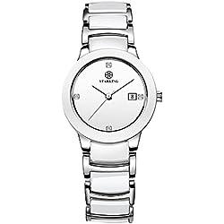 STARKING Women's BL0952SC11 Analog Display Silver-Tone Stainless Steel Ceramic Quartz Watch