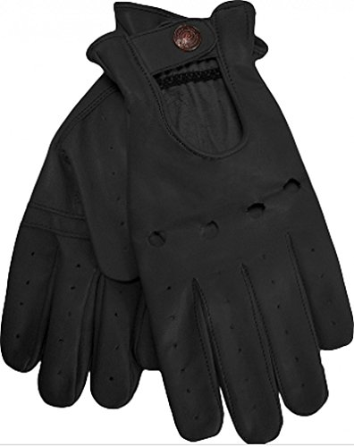 Herren Driving Autofahrer-Handschuhe Lederhandschuh in schwarz L