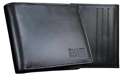 KORUMA Portefeuille Homme Smart avec Blocage RFID - Noir Cuir véritable Doux - 100% Cartes de crédit à crédit protégées - Smart SM-902PBL