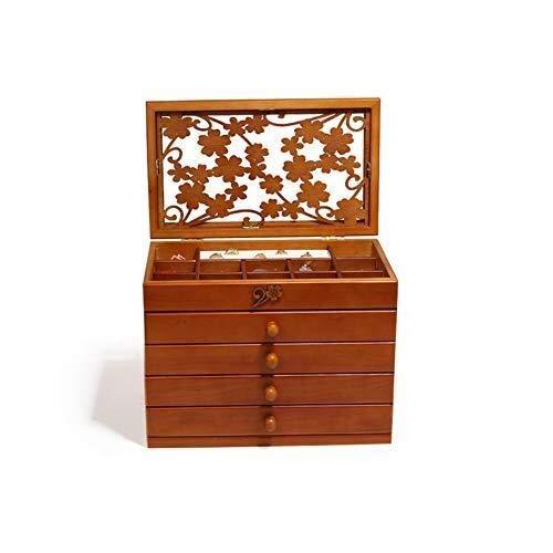 FLYSXP Schmuckkästchen aus Holz, Blumenmosaik mit 4 Schubladen, verdickter Fotorahmen -