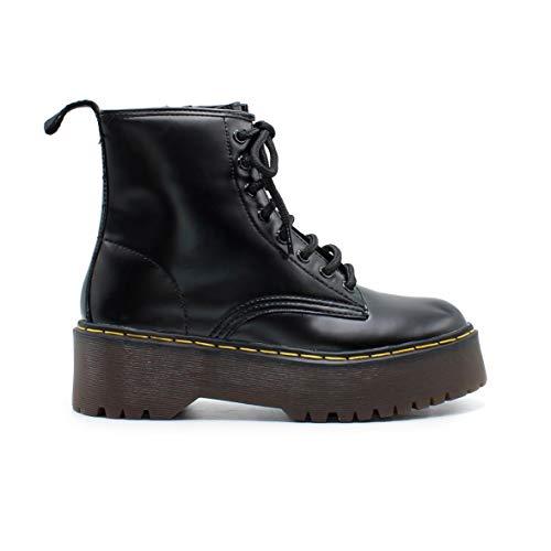 Zapshop C8655 Bota Militar con Cordones de Plataforma de Color Negro para  Mujer Talla  37 9603697c95a