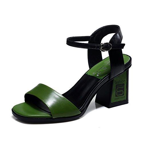Spessa con pelle nei sandali/Una fibbia tacchi alti/Sandali romani aperti B