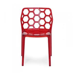 chaise en nid d 39 abeille rouge lot de 2 cuisine. Black Bedroom Furniture Sets. Home Design Ideas