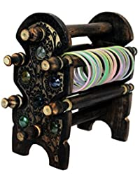 Lunatic Craftwork Hand Carved Wooden Bangle Stand/Jewelry Accessories (Brown)