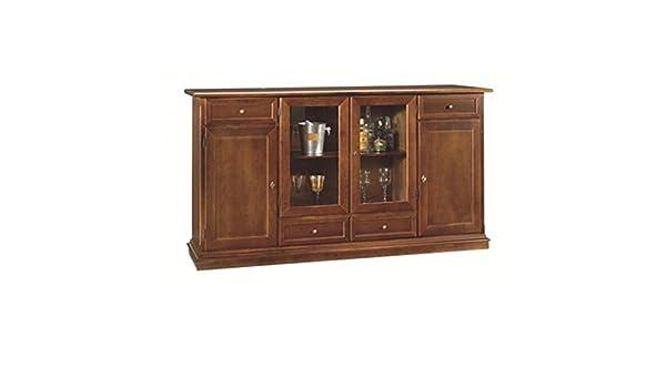 Credenza Arte Povera Miglior Prezzo : Estea mobili credenza legno vetrina arte povera colore noce