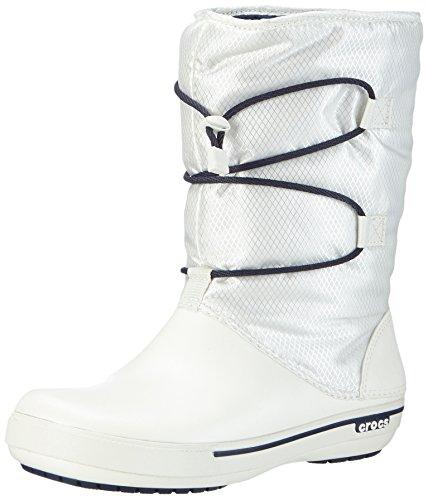 Crocs Winter Stiefel (crocs Crocband II.5 Cinch Boot Women, Damen Warm Gefüttert Schneestiefel Halbschaft Stiefel, Weiß (Oyster/Navy 12T), 38-39 EU)