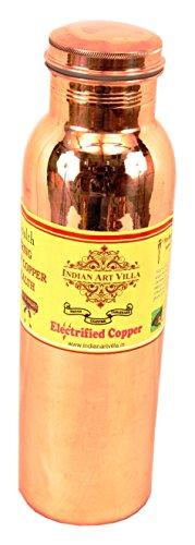 IndianArtVilla Thermos Design Copper Bottle, Travelling Purpose, 1000 ML