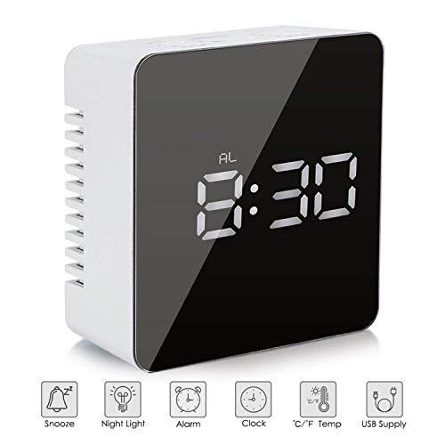 Reloj despertador con espejo digital LED