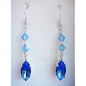 Silber-Ohrringe handgefertigt mit Swarovski-Kristallen und Verschleiß.